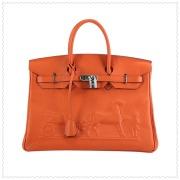Hermes Birkin 35cm Bag Horse Embossed-oranges-silver
